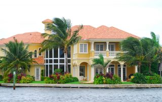 Large multi-story residential waterfront home